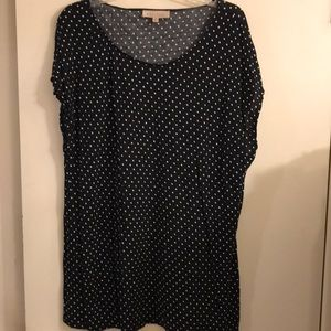 Philosophy 2 XL top black with white polka dots